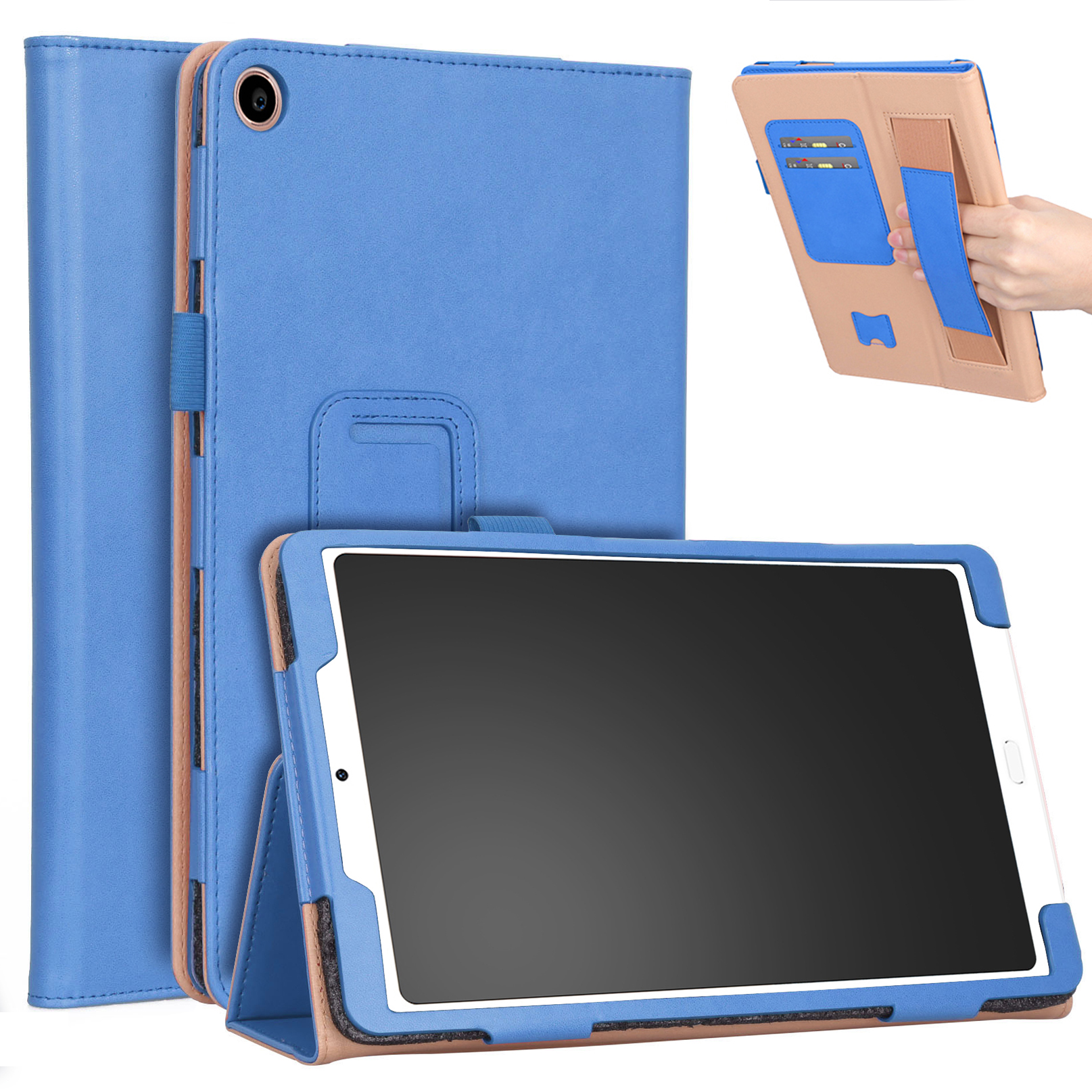 For Xiaomi tablet 4 plus 10.1 Retro Pattern PU Tablet Protective Case with Hand Support Card Slot Bracket Sleep Function blue_Xiaomi tablet 4 plus 10.1