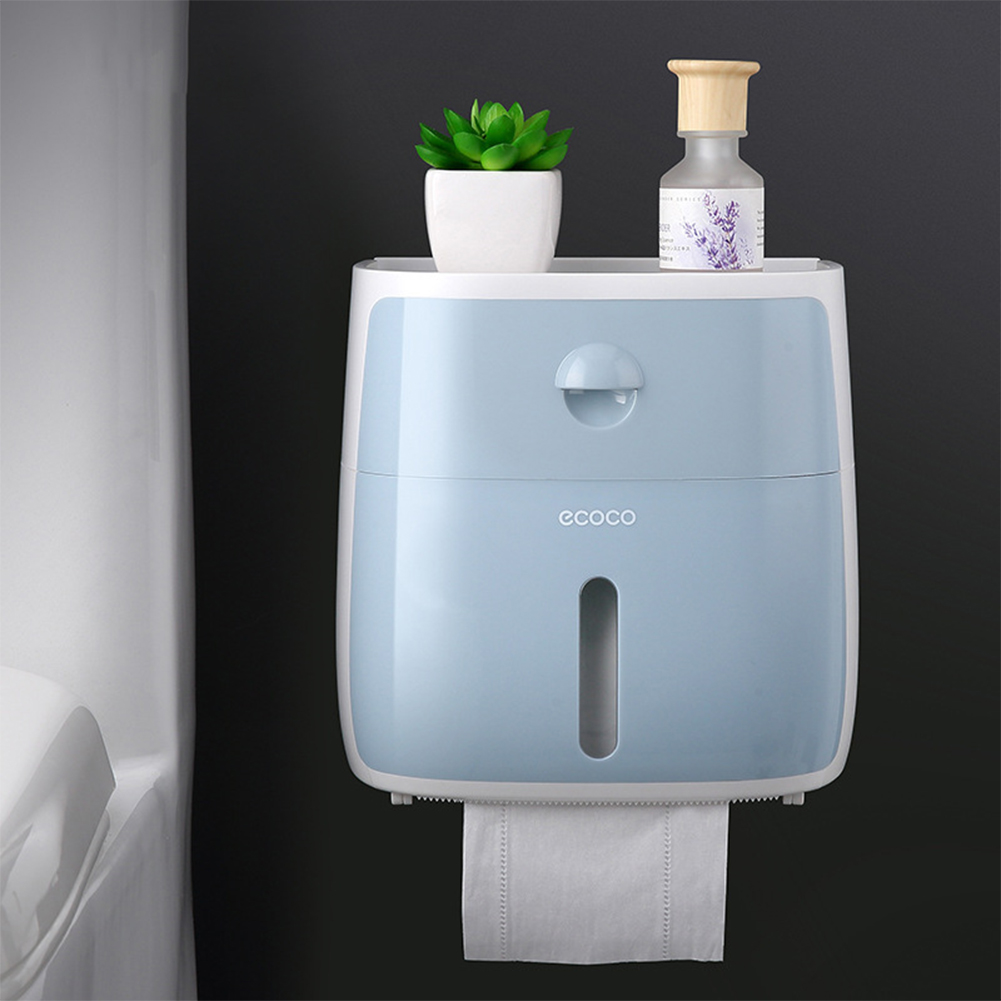 Wall Mounted Bathroom Toilet Waterproof Tissue Box with Drawer Storage Box