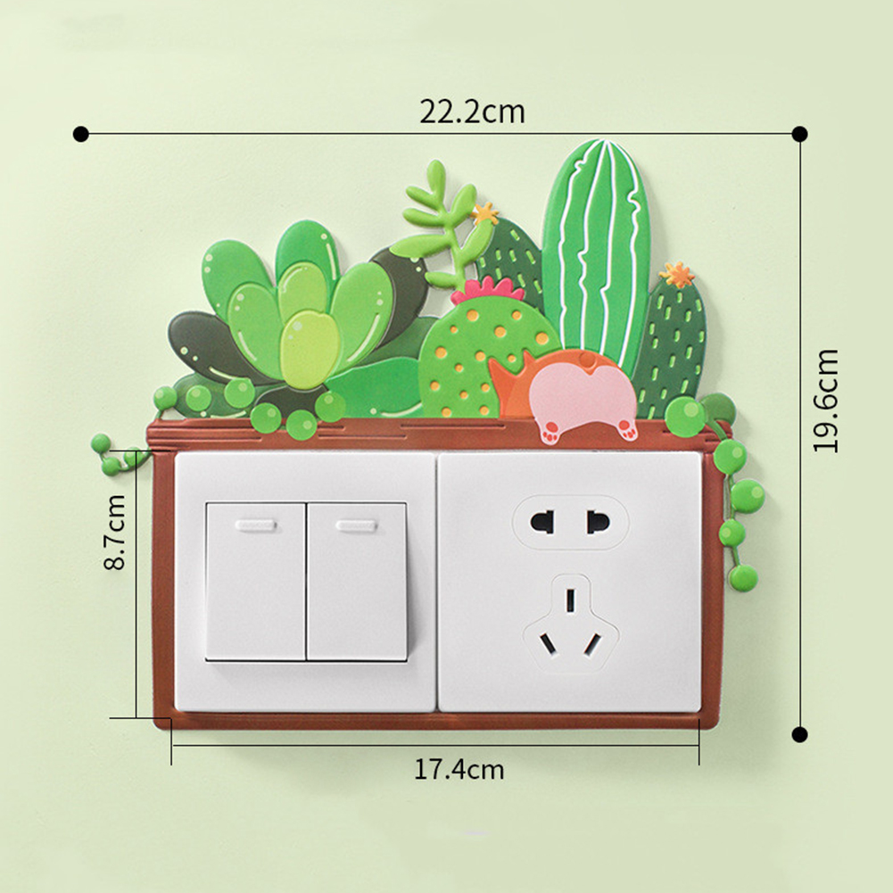 3D Cartoon Room Wall Noctilucence Switch Sticker Protective Cover Home Decor Fresh plants