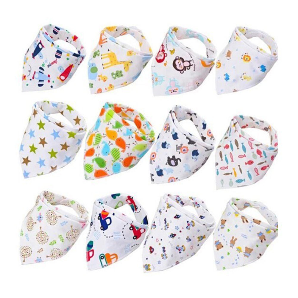 Cartoon Printing Double Button Cotton Bibs for Baby Infant Boys Girls Feeding