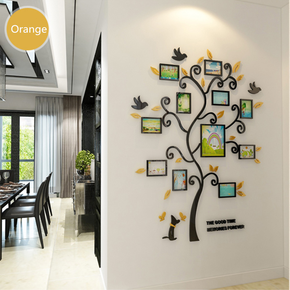 3D Acrylic Crystal Wall Sticker Living Room Bedroom Cozy Pictures Tree Stickers Home Decoration Orange