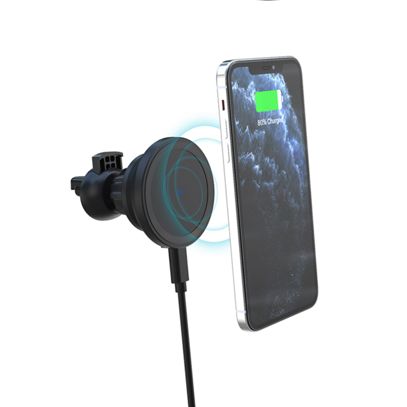 Wireless Charger Magnetic Car  Fast Charging 15w Wireless  Charging Station For Iphone12 black