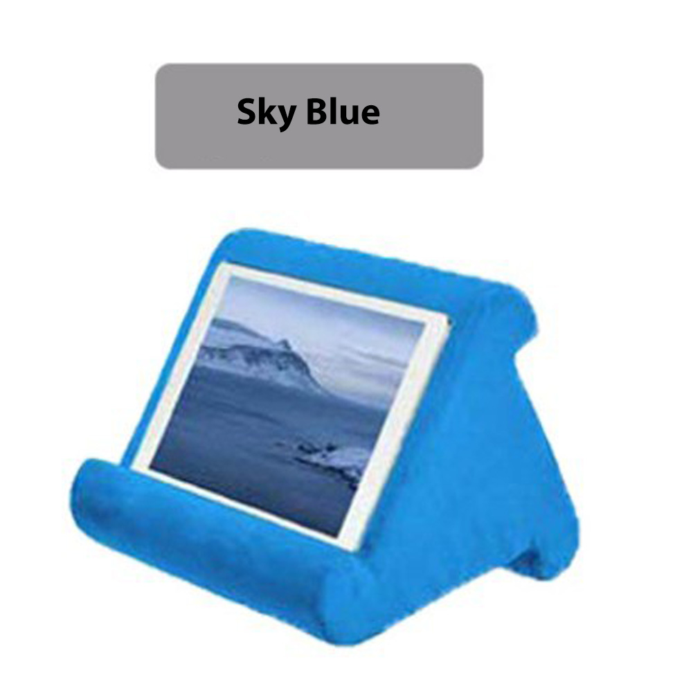 Multi-Angle Pillow Tablet Read Holder Stand Foam Lap Rest Cushion for Pad Phone sky blue_Without net bag