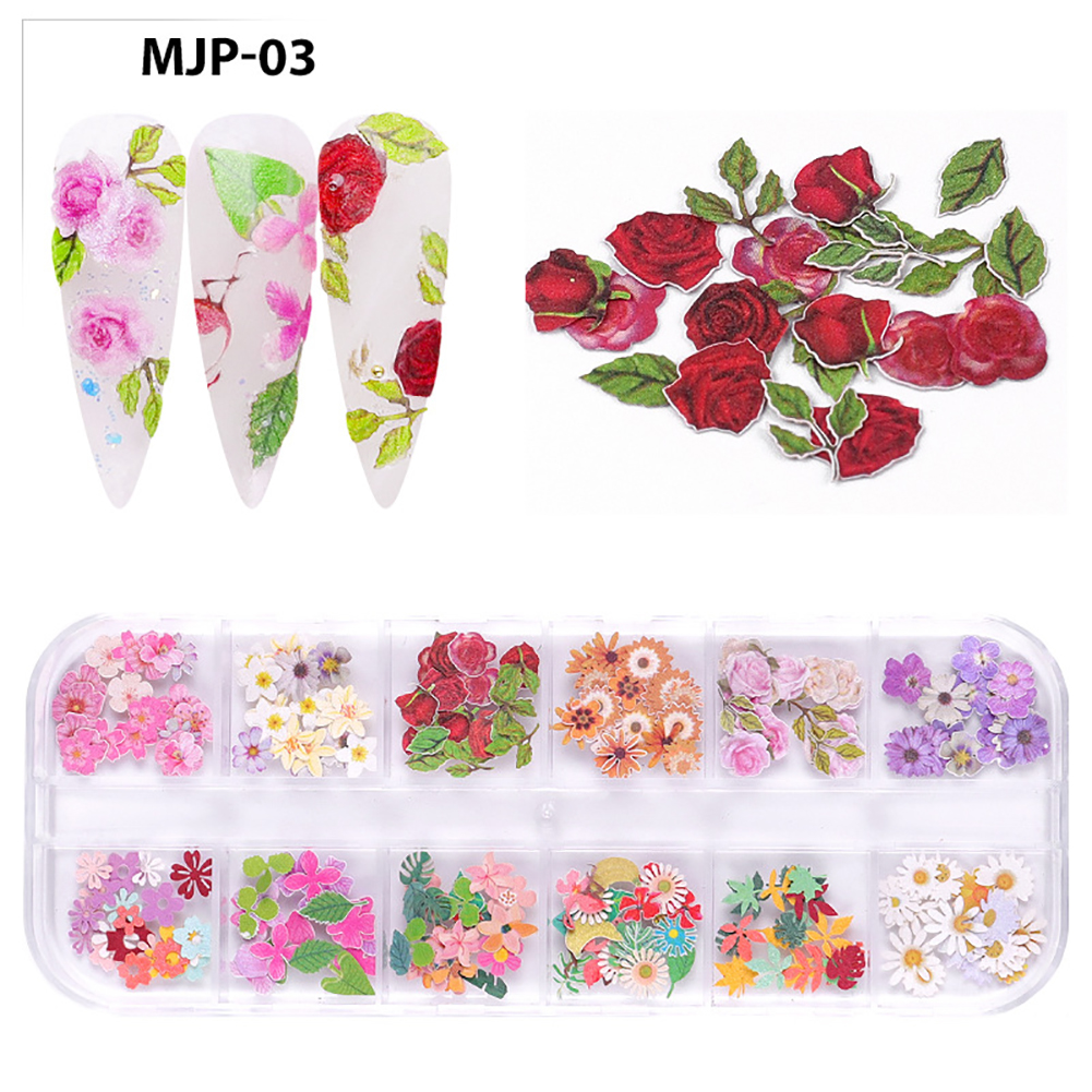 Nail Decorator Butterflies with little flowers for Christmas and Halloween nail art Nail jewelry set 03