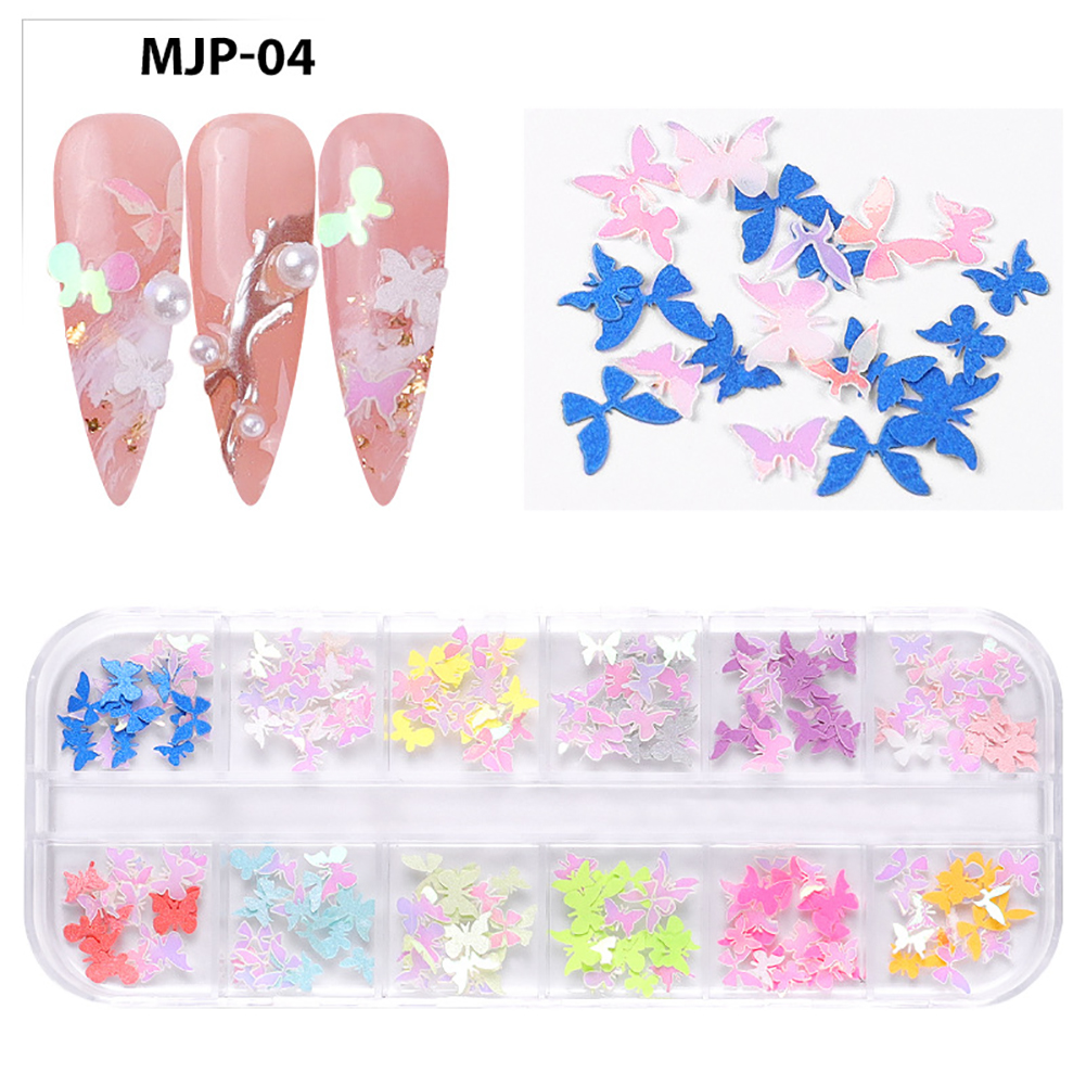 Nail Decorator Butterflies with little flowers for Christmas and Halloween nail art Nail jewelry set  04