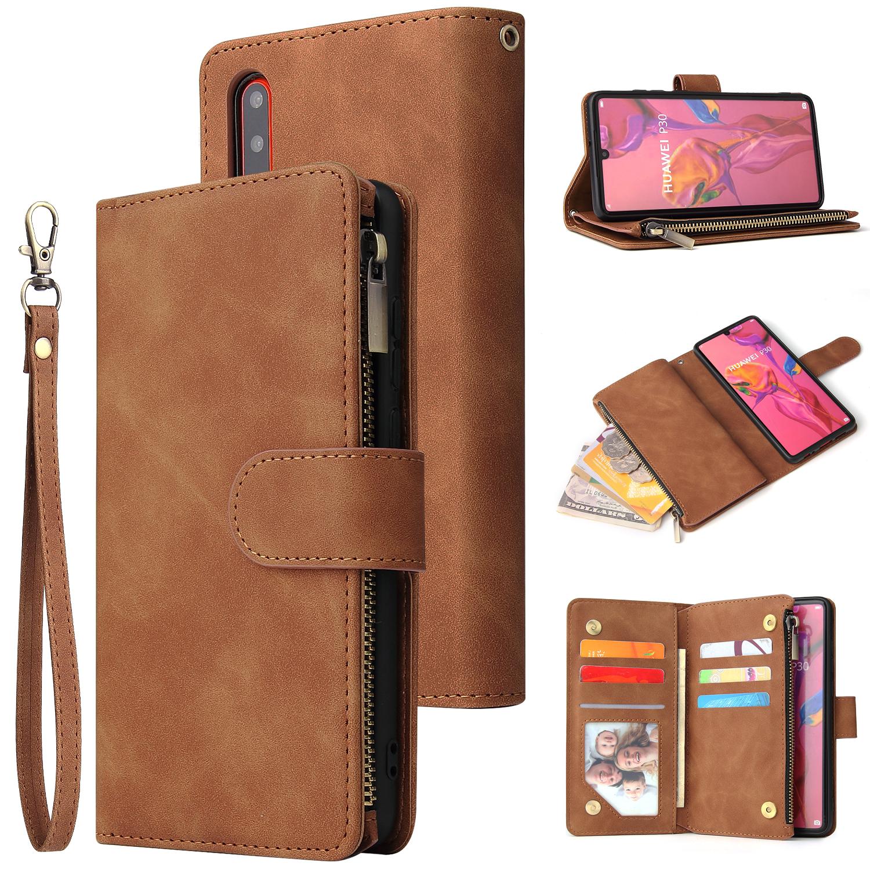 For HUAWEI P30 HUAWEI P30 lite HUAWEI P30 pro Multi-card Bracket Coin Wallet Zipper Mobile Phone PU Leather Phone Case  4 brown