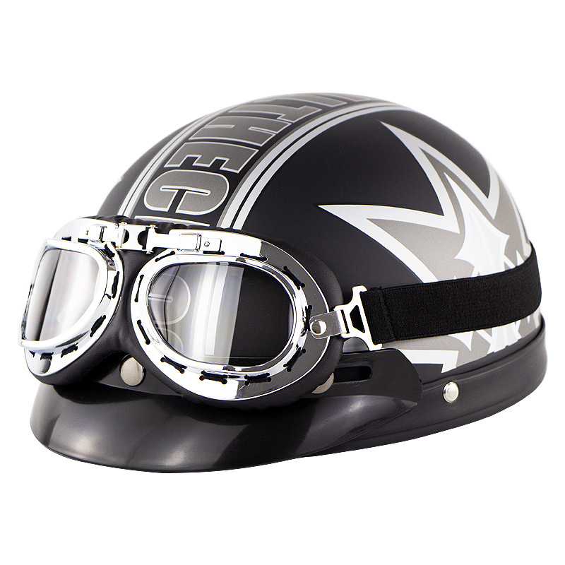Unisex Cute Motorcycle Helmet Bike Riding Protective Strong Safety Half-face Helmet with Goggles Matte black maple leaf_One size