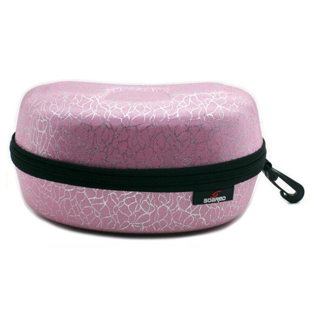 Ski Mirror Storage Box Waterproof Pressure-resistant Portable Skiing Glasses Case Pink silver_Adult L
