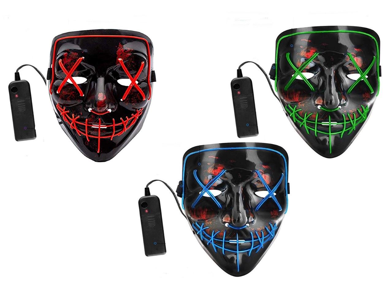 Twister.CK 2PCS LED Masks Halloween Scary Masks Cosplay LED Costume Masks Set EL Wire Light up Novelty Masks for Halloween Festival Party