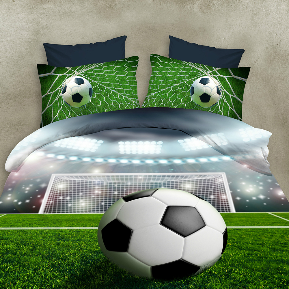 4 PCS 3D Football Bedding Sets Quilt Duvet Cover + Bed Sheet + Pillowcase Creative Personality Household Items