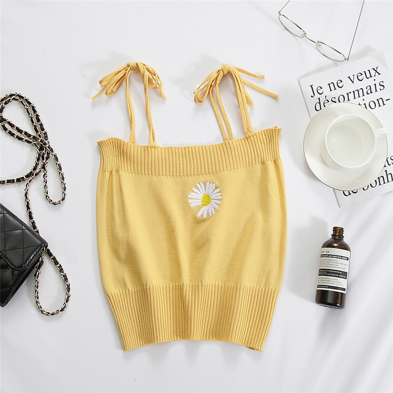 Women's Camisole Summer Knitted Embroidery Slim Cropped Small Camisole yellow_free size