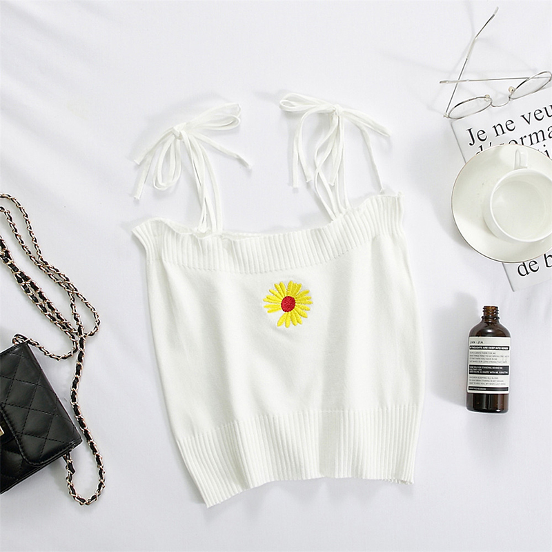 Women's Camisole Summer Knitted Embroidery Slim Cropped Small Camisole white_free size