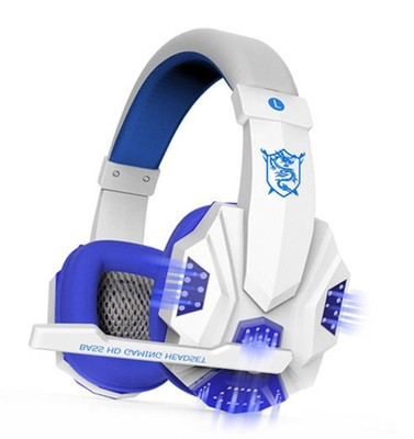 Headset Earphone Headphone with Microphone Control for Desktop Computer Gaming Laptops white and blue light version