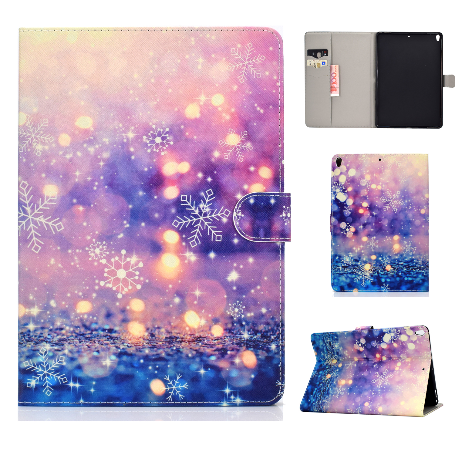 For iPad 10.5 2017/iPad 10.2 2019 Laptop Protective Case Color Painted Smart Stay PU Cover with Front Snap  Purple quicksand
