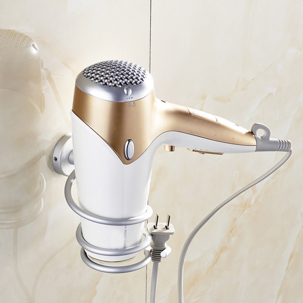 Innovative Wall-mounted Hair Dryer Stainless Steel Bathroom Shelf Storage Hairdryer Holder as shown