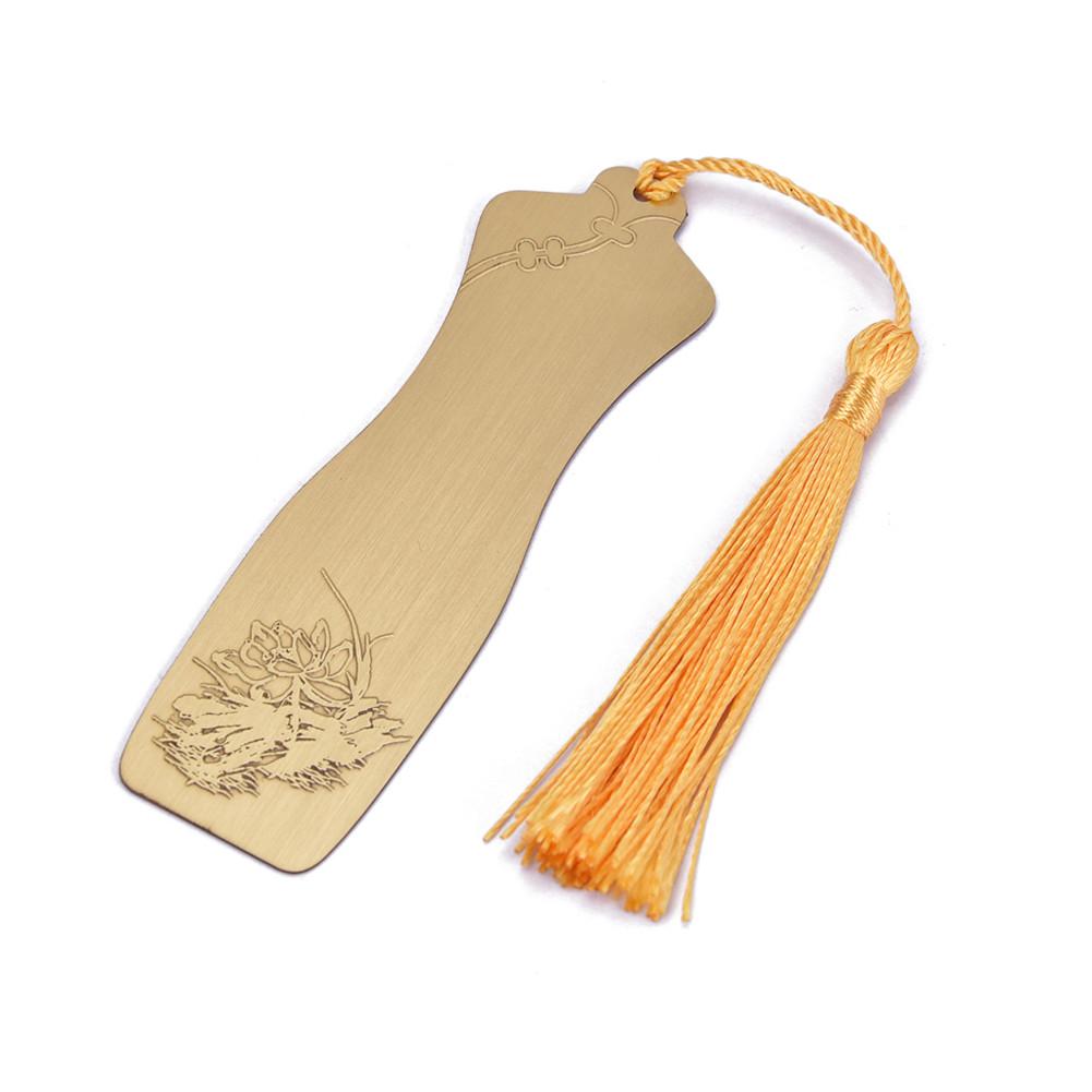 Metal Cheongsam Shaped Bookmark Golden With Tassels Retro Stationery Gift Golden