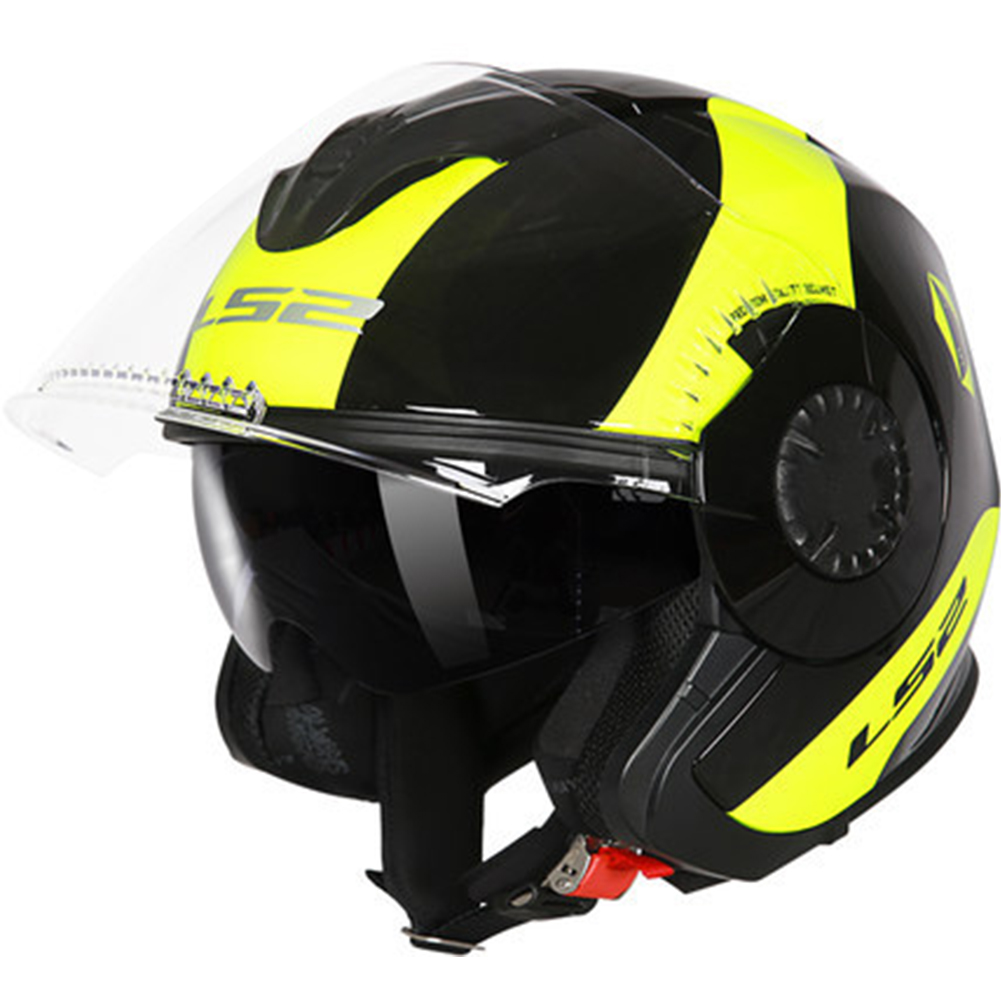 LS2 OF570 Helmet Dual Lens Half Covered Riding Helmet for Women and Men Motorcycle Helmet Casque Black and yellow / bunting XXL