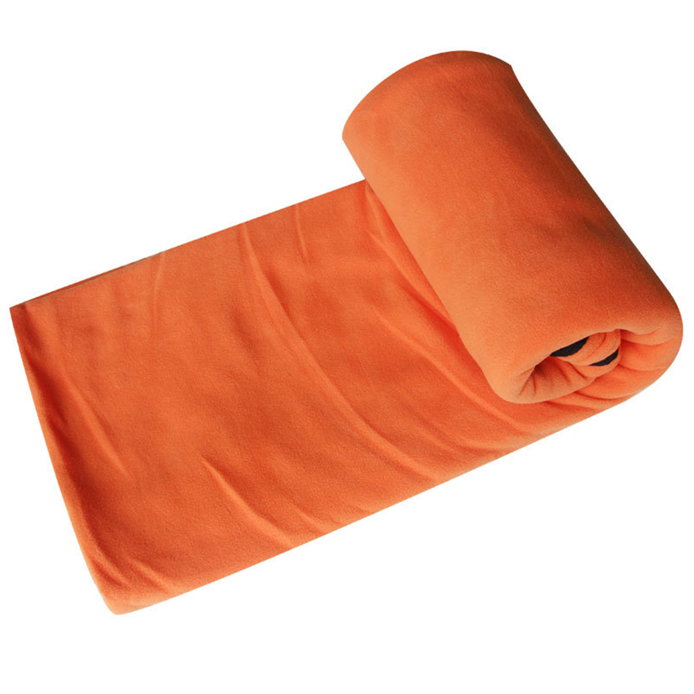 Portable Ultra-light Polar Fleece Sleeping Bag Outdoor Camping Tent Bed Travel Warm Sleeping Bag Liner Orange_185*80