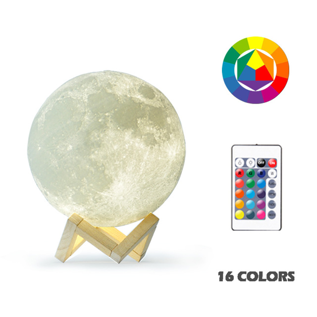 3D Moon Shaped Lamp Moonlight Colorful Touch USB LED Night Light Decor Home Decor Gift 16 colors (with remote control)_15cm