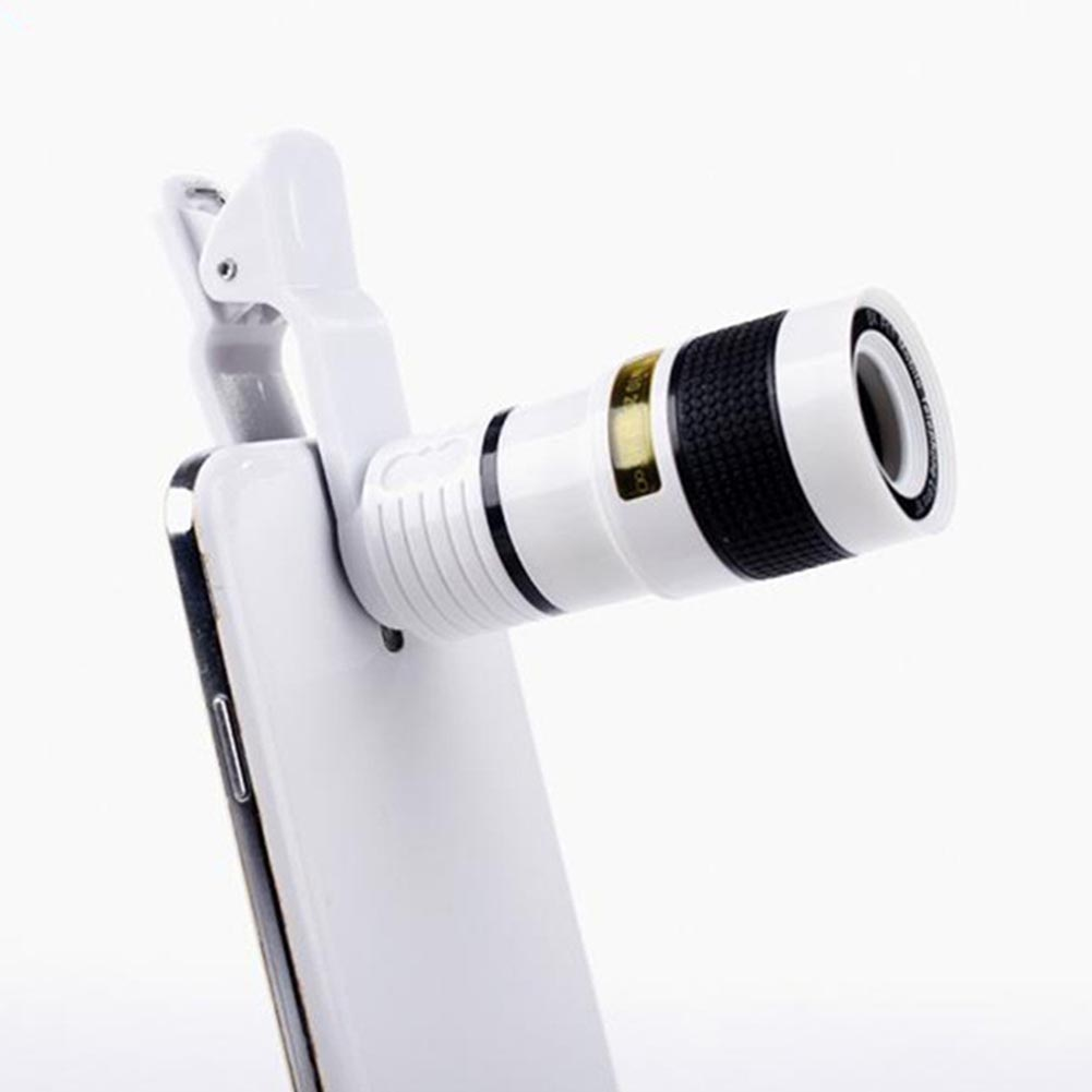 8X Telephoto Mobile Phone Lens Zoom Telephoto High Definition No Vignetting Mobile Phone External Lens white