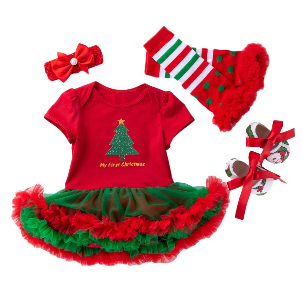 4 Pcs/set  Baby Short-sleeve Dress + Headwear + Socks+ Shoes for 0-2 Years Old Kids 1_73