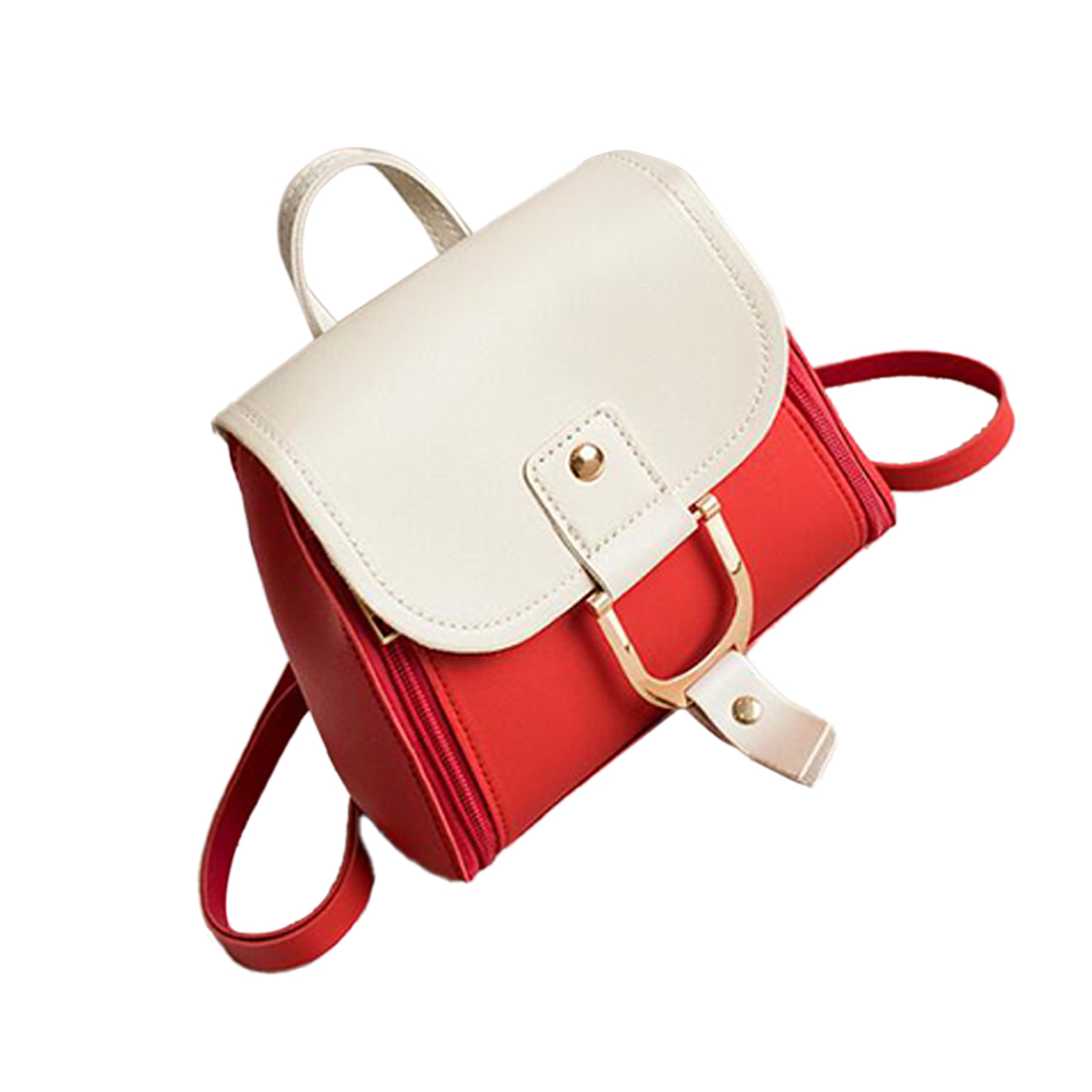 Women's PU Leather Hit Color Casual Small School Bag Shoulder-Shoulder Fashion Bag red