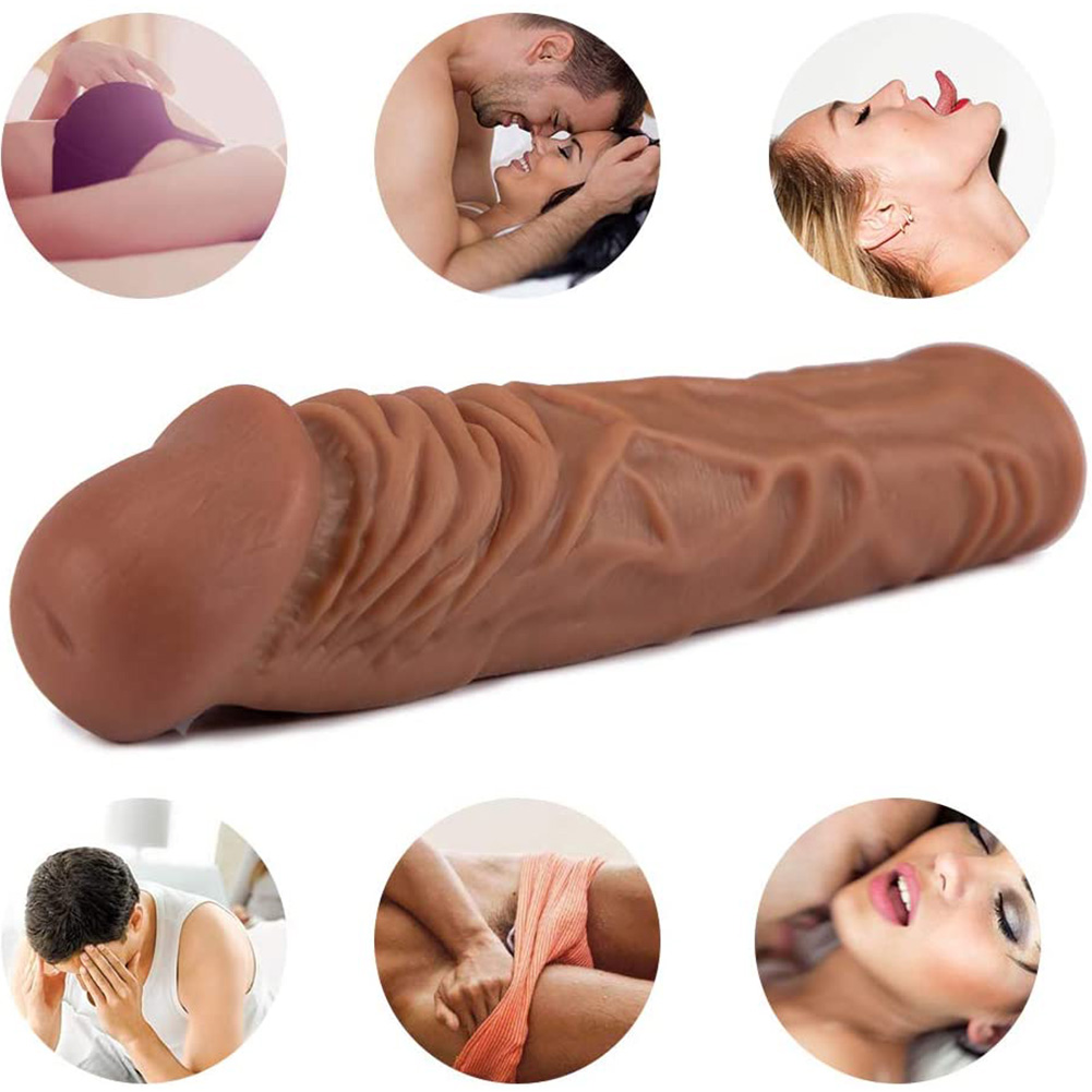 Silicone Penis Sleeve Extender Enlargement Thick Realistic Erotic Penis Cover Sex Toy for Men Flesh