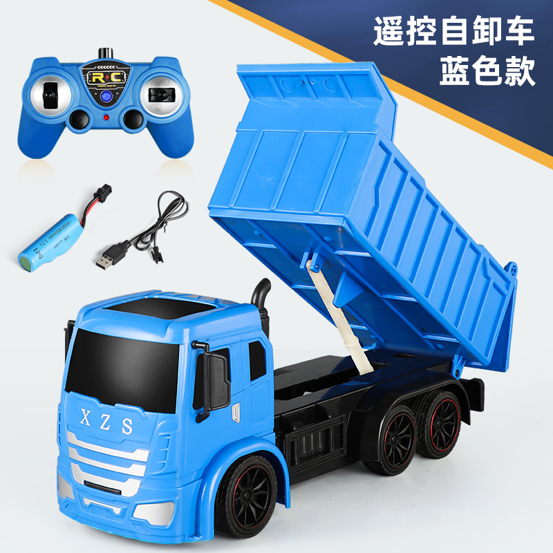 Super Power RC Car Tipper Dump Truck Model Remote Control Alloy Engineering Vehicle Beach Toys Kids Boys Birthday Xmas Gifts blue_1:14