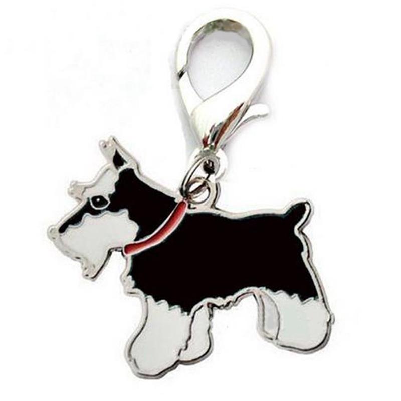 Metal Dog Key Chain Lovely Puppy Pendant Keyring Keychain Woman Bag Charm Gift Black schnauzer_2.5cm