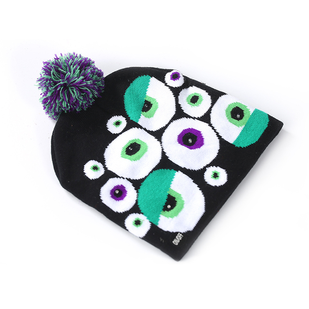 Halloween Pumpkin Ghost Knit Hat with Light Stretchable Unisex Adults Kids Children Ghost eye_20*21CM