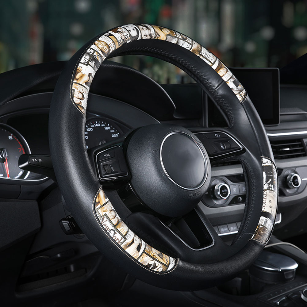 Universal leather printing Car Steering-wheel Cover 38CM Sport styling Auto Steering Wheel Covers Anti-Slip Yellow print_38cm