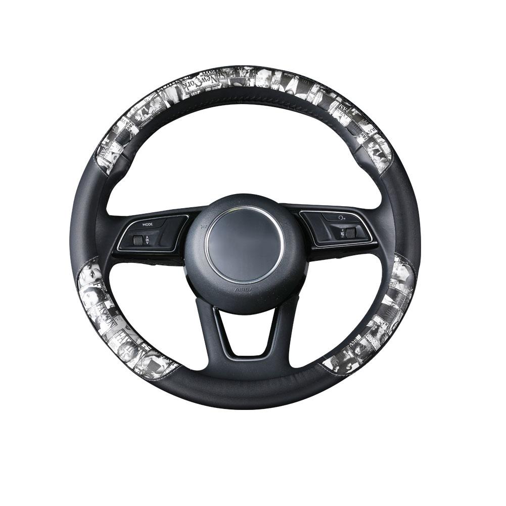 Universal leather printing Car Steering-wheel Cover 38CM Sport styling Auto Steering Wheel Covers Anti-Slip Grey print_38cm