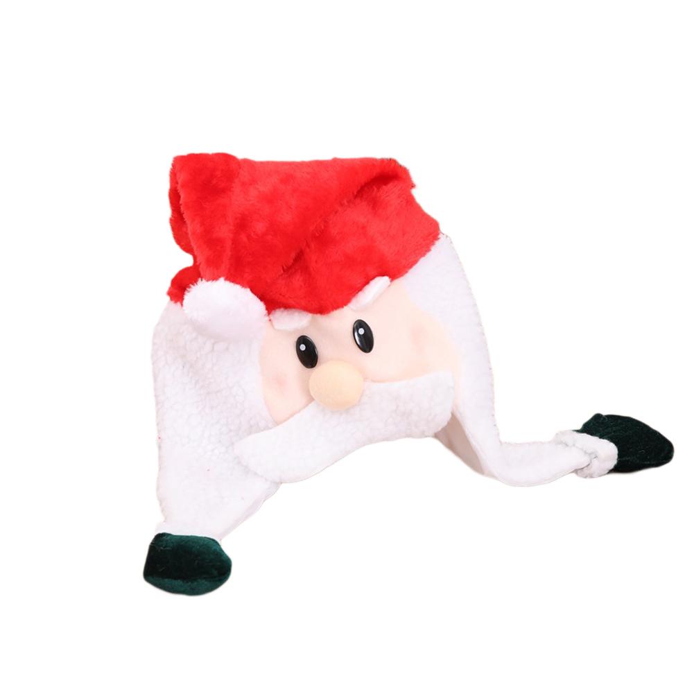 Christmas Hat Fleeced Xmas Cute Santa Snowman Hat Cap Decoration