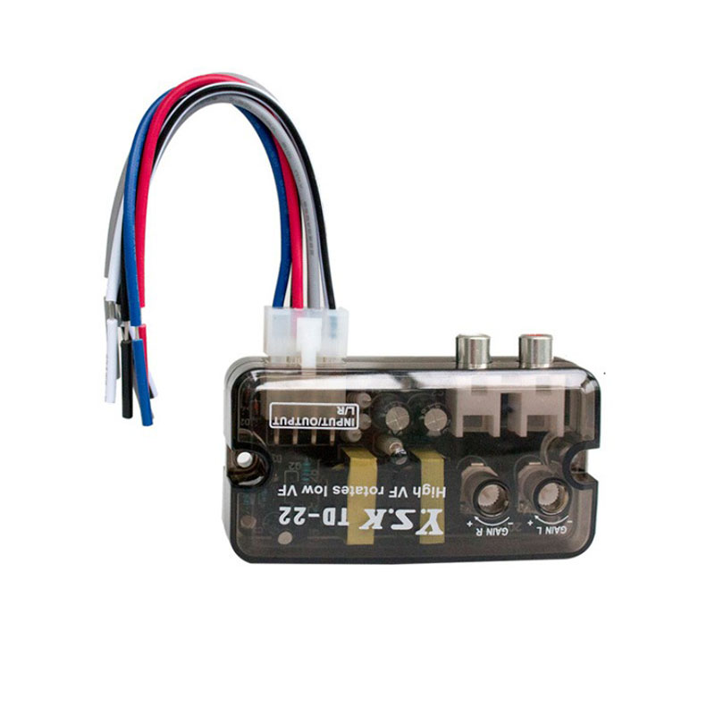 12V TD-22 Auto Car Audio Converter Stereo High to Low Frequency Line Speaker Level Adapter Transparent black_TD-22