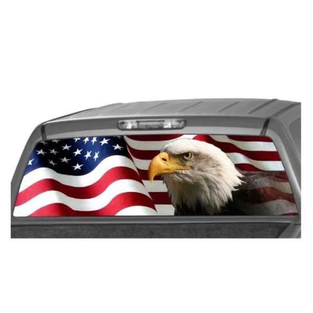 135*36cm Car Rear Window Graphic Eagle Flag Decal Tint Print Sticker for Truck Suv