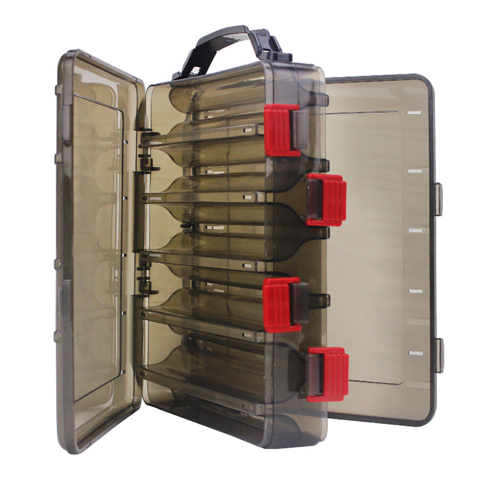Fishing Bait Box Multi-function Double Deck Sided Wooden Shrimp Plastic Fishing Tackle Box Tool Container Case Gun color translucent