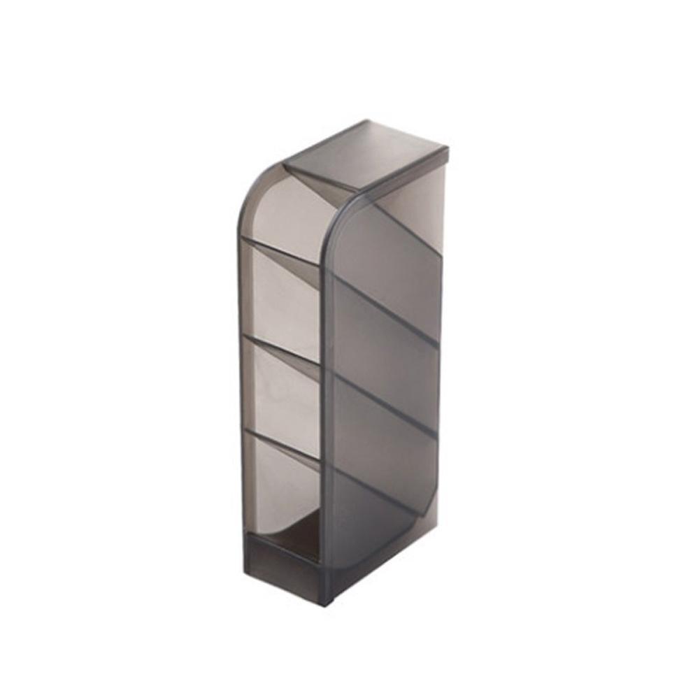 Multi Function Frosted Pen Holder Desktop Storage Box for Office Stationery Makeup Brush Storage box-black