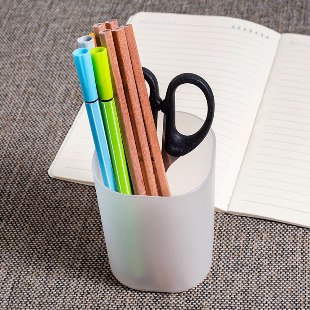 Multi Function Frosted Pen Holder Desktop Storage Box for Office Stationery Makeup Brush Cylinder white