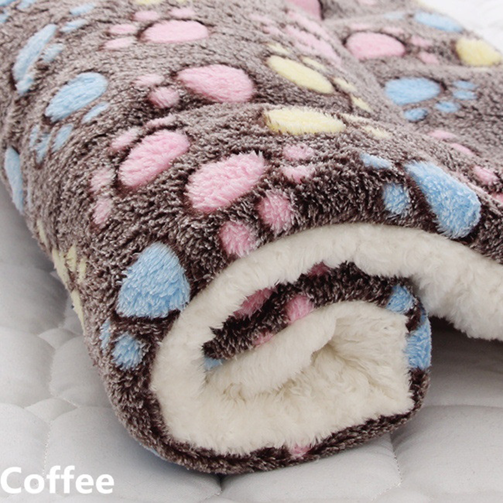 Pet Mat Thickening Warm Autumn Winter Cat Dog Blanket Anti-slip Cushion Coffee Footprint_4# 61*41cm