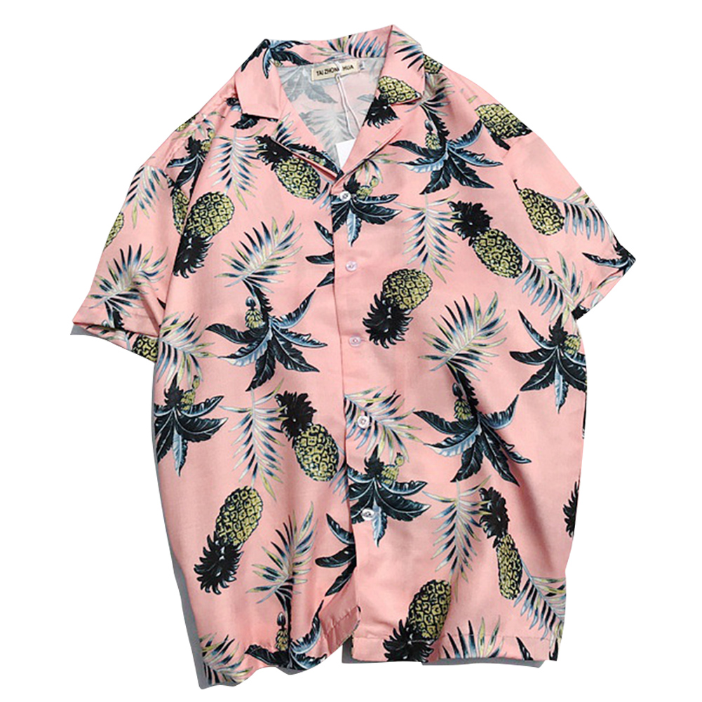 Men fashion Slim shirt with five-quarter sleeves for lovers Pink_L