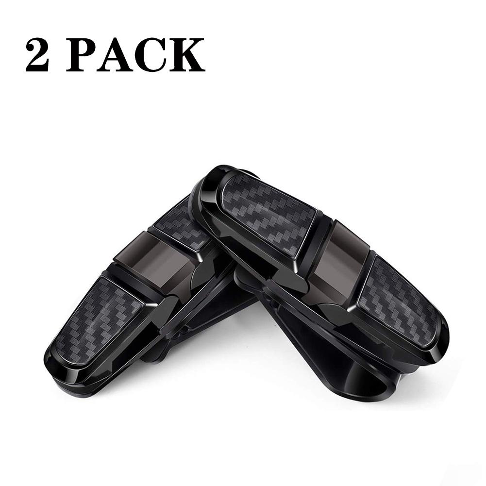 2PCS ABS Sun Visor Clip Sunglasses Holder for Car Sun Visor Car Sunglasses Clip Glasses Hanger Mount black