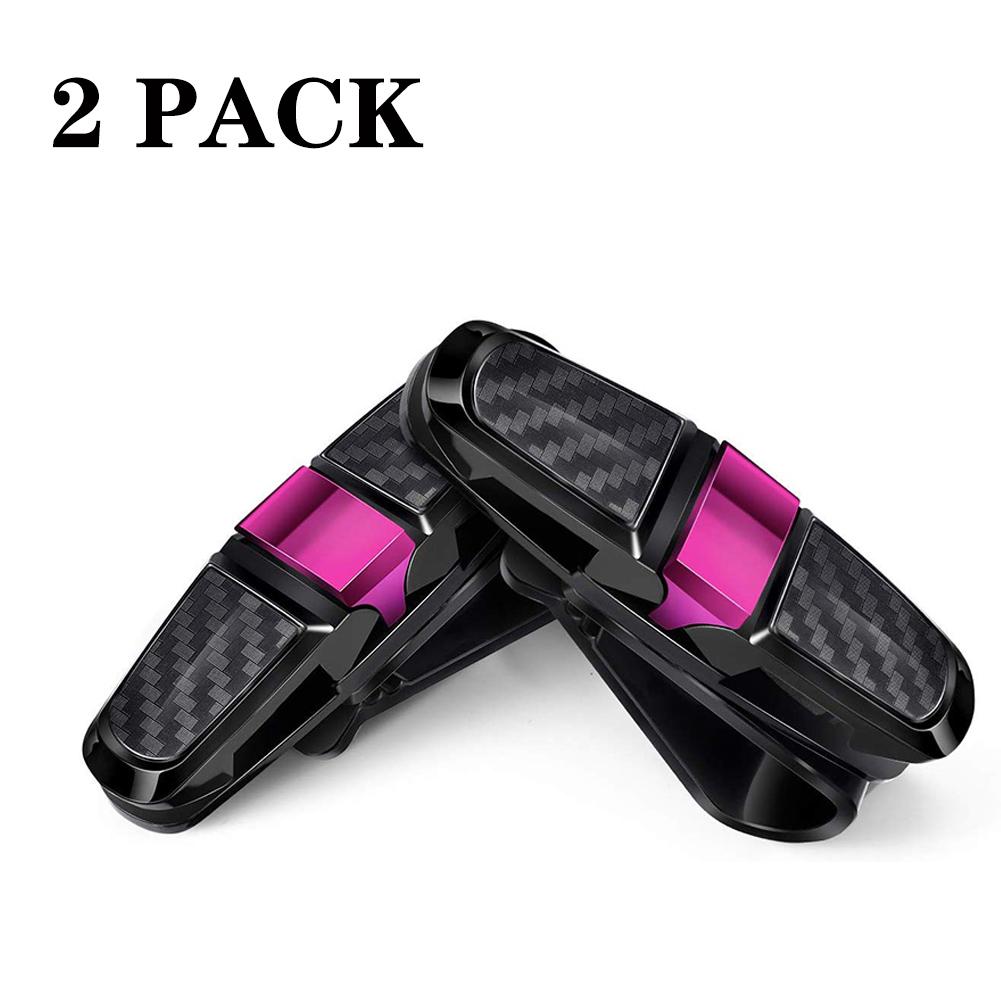 2PCS ABS Sun Visor Clip Sunglasses Holder for Car Sun Visor Car Sunglasses Clip Glasses Hanger Mount Rose red