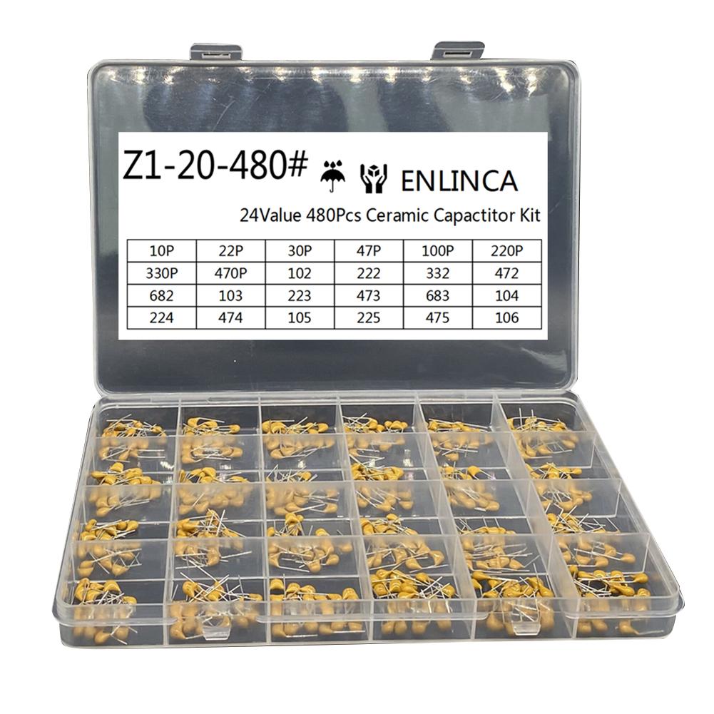 480pcs 24values*20pcs Each Monolithic  Capacitor Set Sample Box 10pf~10uf 50v Yellow