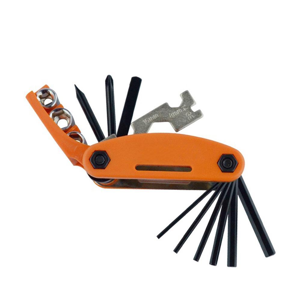 15-in-1 Bike Bicycle Repair Tool Kit Hex Wrench Nut Key Screwdriver Socket Extension Rod Orange