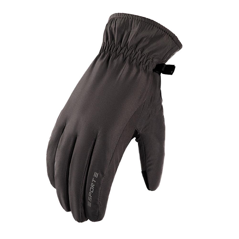 Winter Waterproof neoprene + Fleece Gloves Full Finger Warm Touch Screen Outdoor Sports Ski Riding Bike Gloves Curved finger black