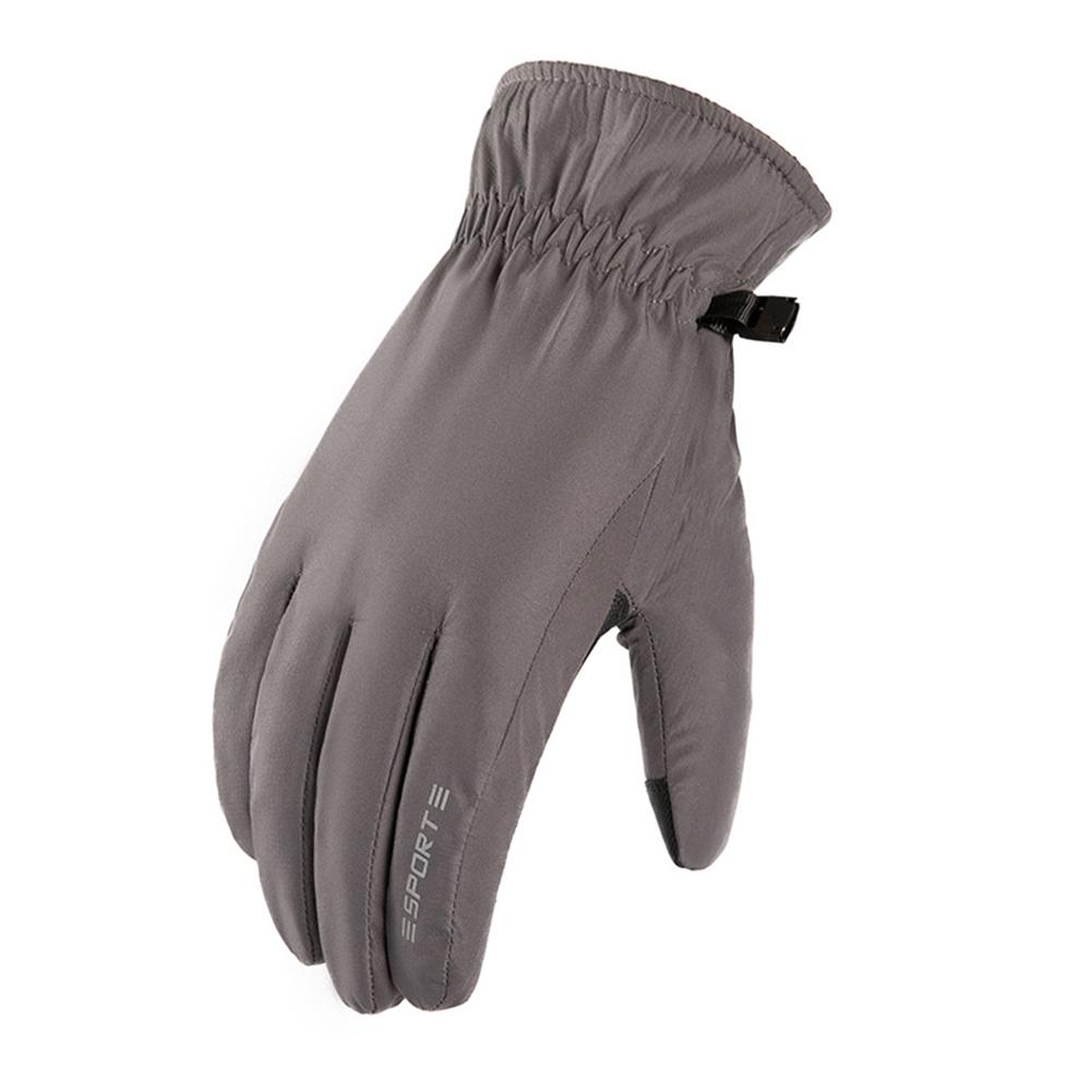Winter Waterproof neoprene + Fleece Gloves Full Finger Warm Touch Screen Outdoor Sports Ski Riding Bike Gloves Curved finger gray