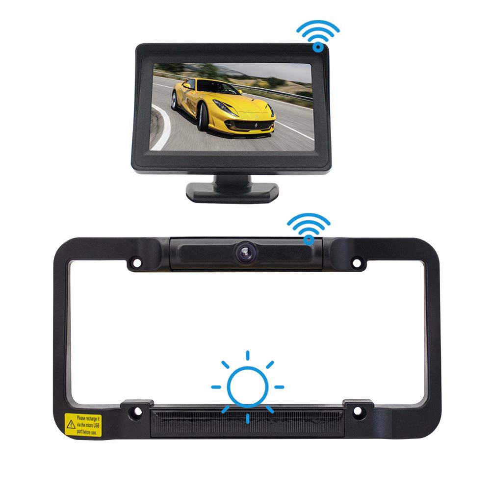 Wireless Solar License Plate Frame +4.3 Inch Display Reversing System black