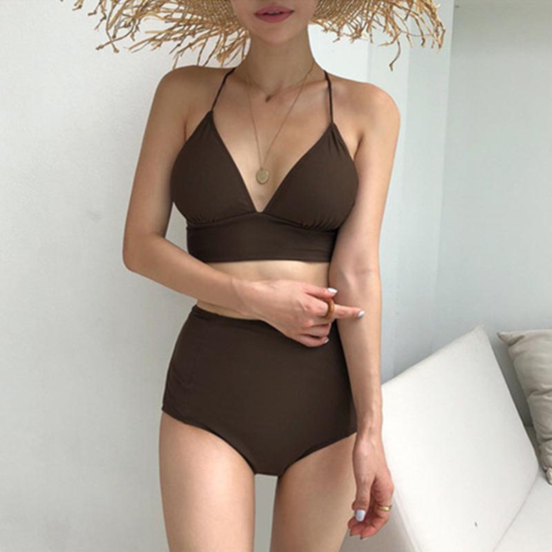 2 Pcs/set Women's Swimming Suit Nylon Sexy Split Triangle High-waist Bikini Swimsuit Brown_m