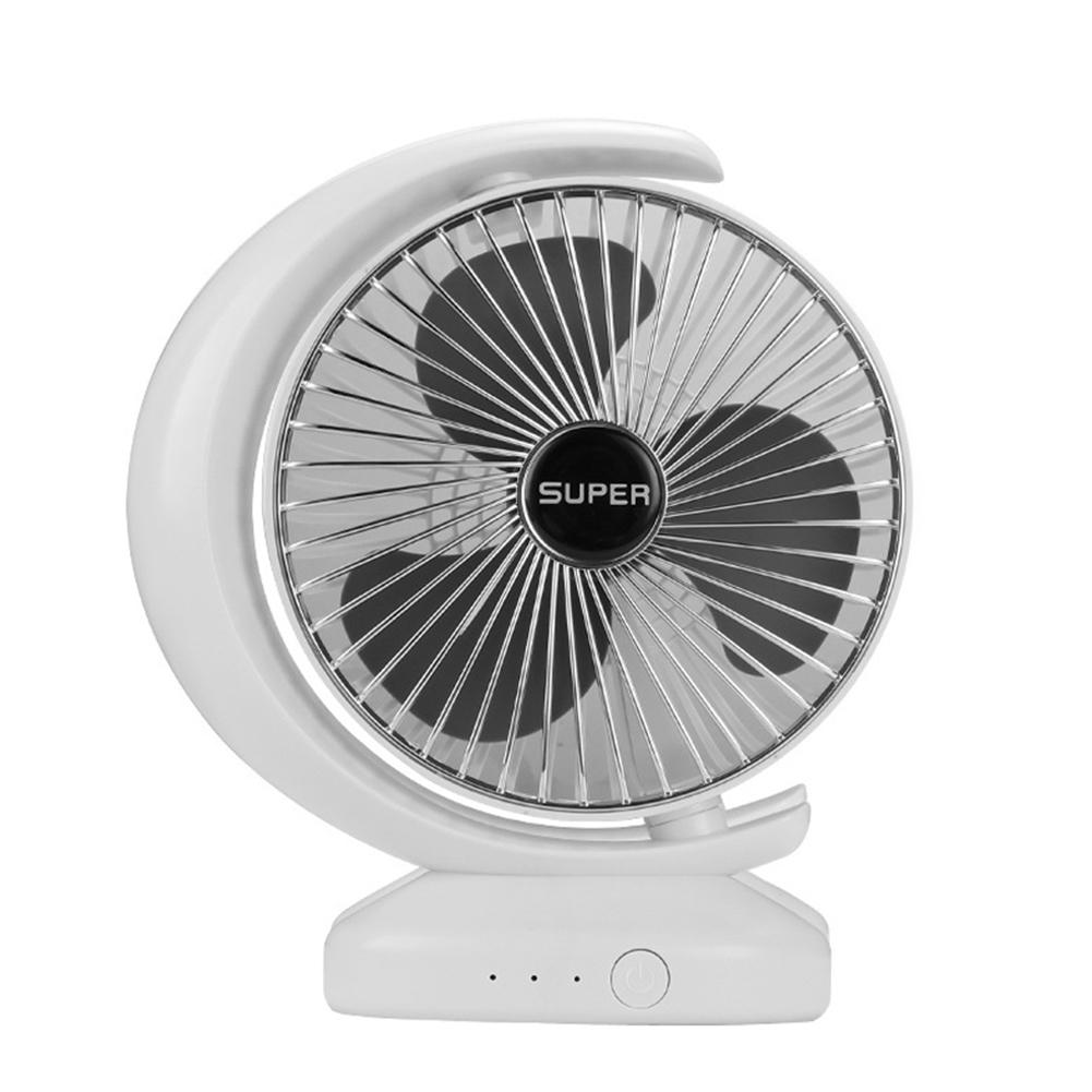 USB Multifunctional Fan Charging Noiseless Desktop Gale Electric Fan for Dormitory Office Half moon Silver