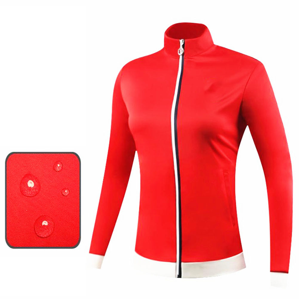 Golf Clothes Autumn Winter Wind Coat Female Sport Jacket Long Sleeve Top red_M